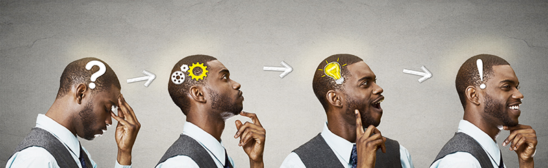 Abstract image of a man thinking success and business